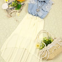 070309 Chiffon dress sleeveless denim vest