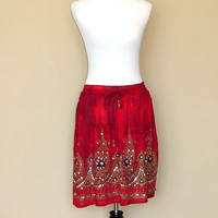 Red TIe Dye Mini Skirt: Gypsy Skirt, Short Bohemian Hippie Skirt, Flowy Indian Boho Sequin Floral Skirt Cover Up