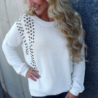 Cream Embellished Sweater | The Rage