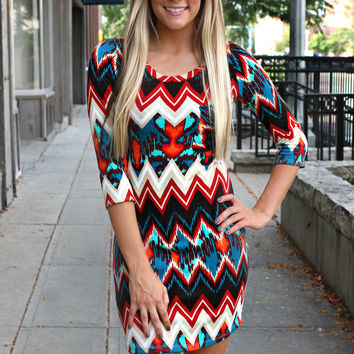 Wild Winds Chevron Dress - Red