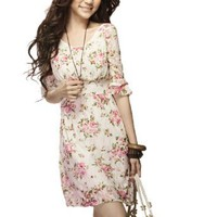 Allegra K Women Peony Flower Print Lace Hlaf Sleeve Mini Dress White XS