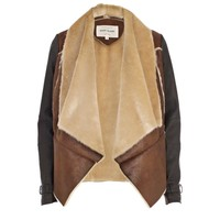Brown pony skin waterfall jacket - leather / leather look jackets - coats / jackets - women
