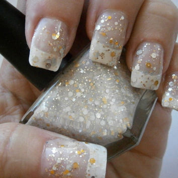 Brazilian Panty Nail Polish - Nude Gold & Silver French Lingerie - French Mani - Full Size 15 ml Bottle