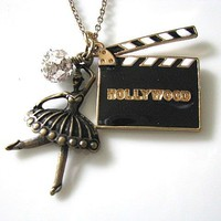 Hollywood Movies CUT Film Clapperboard Necklace - Black White Gold, Ballet Dancer, Crystal Rhineston | Luulla