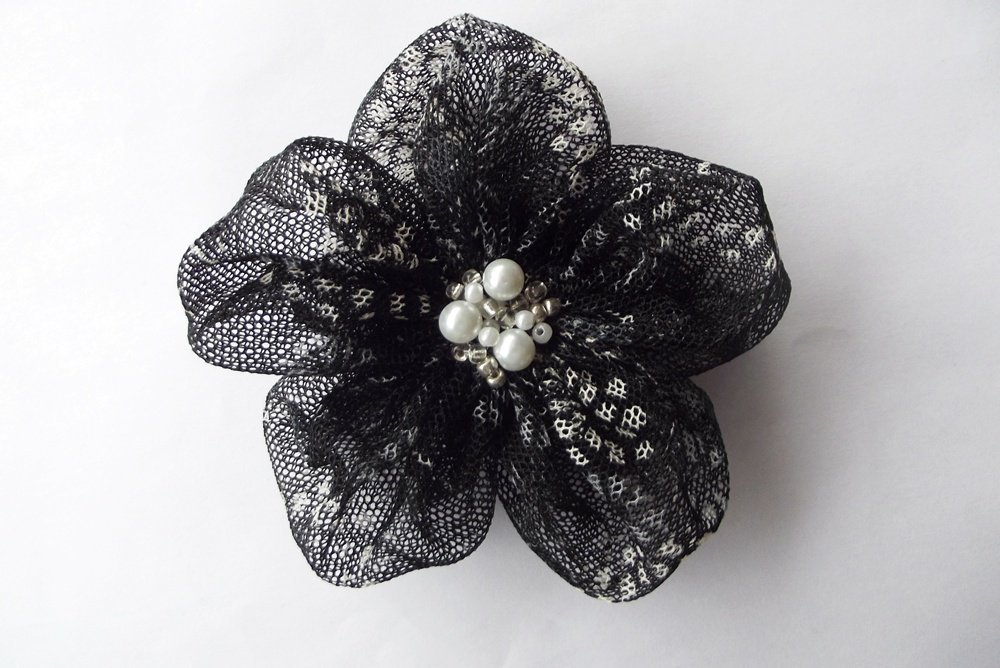Black Tulle With White Textured Flowers Handmade Appliques Embellishments(3 Pcs) | Luulla