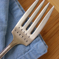 Grill Master Hand Stamped Vintage Serving Fork by BabyPuppyDesigns