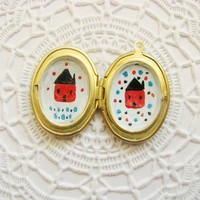 Hand Painted Brass Oval Photo Locket With Two Houses Folk Wearable Art Illustrated Jewelry | Luulla