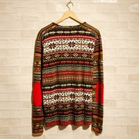Tribe Pattern Embroidery Pullover Sweater