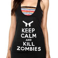 Keep Calm And Kill Zombies Girls Tunic Tank Top Size : Medium