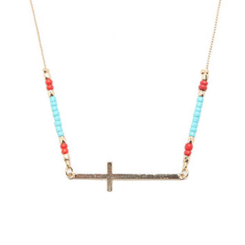 With Love From CA Sideways Cross Beaded Necklace at PacSun.com