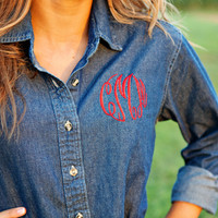 Monogrammed Denim Shirt Ladies Long Sleeve