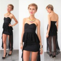 BANDEAU LOVE HEART BUSTIER PEPLUM RUFFLE TAIL ASYMMETRIC MAXI DRESS S M L