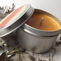 Pumpkin Eggnog scented Soy Candle Tin -- 8 ounce Tin