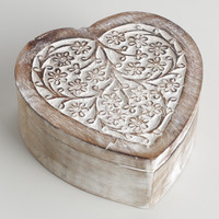 Whitewash Helena Heart Jewelry Box - World Market