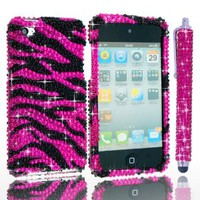 "ECO-FUSED®*BLING* Apple Ipod Touch 4g 4th Generation Case with Hot Pink Sparkling Rhinestone Zebra Design / One Hot Pink *BLING* Stylus - ECO-FUSED® Microfiber Cleaning Cloth 5.5x3.0"" included (Hot pink and black)"