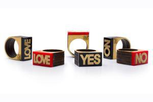 Wood Block Statement Rings available at Delight.com