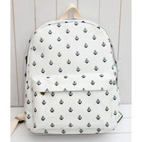 Canvas Backpack with Anchor Embellishment