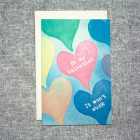 Be My Valentine Card Love Heart Funny Mature Rainbow