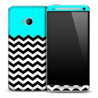 Tiffany Blue White and Black 2 Toned Chevron Pattern Skin for the HTC One Phone