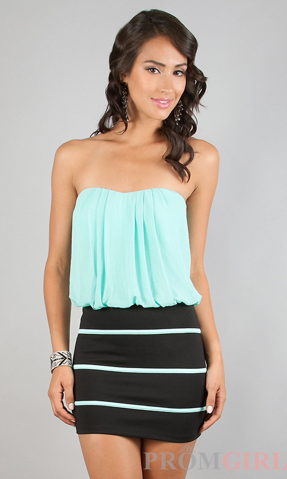 short casual strapless dress from promgirl