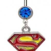 Officially Licensed Dc Comics Superman Shield S Red & yellow dangle Belly navel Ring piercing bar body jewelry 14g:Amazon:Jewelry