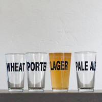 Classic beers 4 hand printed pint glasses dark charcoal by vital