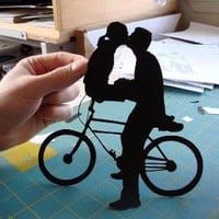 Bicycle Kissing Couple First Anniversary Paper by papercutsbyjoe