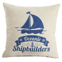 "MagicPieces Cotton and Flax Mediterranean Style Ocean Theme Decorative Pillow Cover Case F 18"" x 18"" Square Shape-ocean-beach-sea-print-blue-anchor-helm-Voyage"