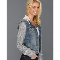 Free People Rugged Ripped Denim/Knit Hoodie Jacket Indie Wash - Zappos.com Free Shipping BOTH Ways