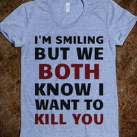 I Want To Kill You-Female Athletic Blue T-Shirt