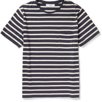 AMI Striped Cotton-Blend T-Shirt | MR PORTER