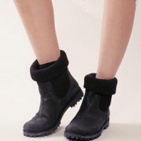 Knit and leather work boots [Frr8422] - &amp;#36;214 : Pixie Market, Fashion-Super-Market