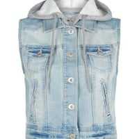 New Look Mobile | Blue Jersey Hooded Sleeveless Denim Jacket