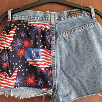 High Waisted USA Stars Distressed Denim Shorts by Moleek7 on Etsy