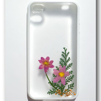 iPhone 4/4s case, Resin with Dried Flowers, Pink Flowers (Matte)