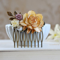 Ivory Rose Hair Comb. Cream Rose Gold Petals Pearl Leaf Brown Daisy Flower Collage Hair Comb. Wedding Bridal, Shabby Chic, Filigree Comb