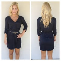 Black 3/4 Sleeve Kim Dress with Belt