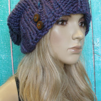 Slouchy Beanie Hat Winter Hand Knit Iridescent Purple Blue Oversized Woodsy With Wood Buttons