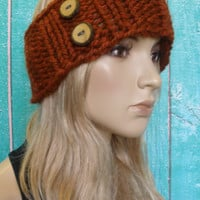 Knit Headband Ear Warmer Hand Knit Pumpkin Spice Burnt Orange Rust Woodsy With Wood Buttons
