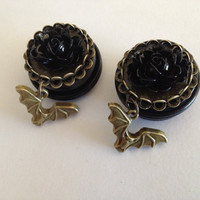 3/4 Antique Bronze Black Rose Bats plugs by Lovekillsboutique