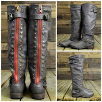 Wake Forest Taupe Red Zipper Knee High Boots