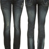 SPOON Stretch Distressed & Torn Skinny Jeans [09SJ7342], Med Blue 420