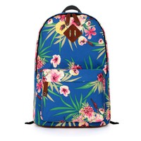 Royal Blue Floral Prints Canvas Backpack