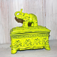 Lime Green Decorative Elephant Box by AquaXpressions on Etsy