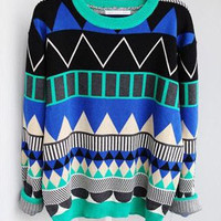 L 080204 bb Diamond geometric pattern loose pullover