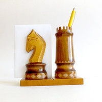 Soviet Vintage Wooden Desktop Pencil, Pen, Paper Holder as Chess Figures