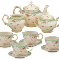 Gracie China Vintage Green Rose Porcelain 11-Piece Tea Set
