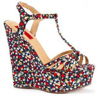 London Rebel Ditsy Floral Wedge