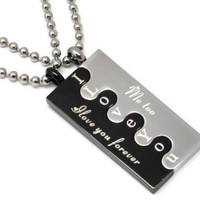 "Stainless Steel Couple ""I Love You Forever / Me Too"" Lovers Puzzle Couple Necklace Set"