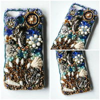SAIL AWAY iPhone 5 Case // Blue Gold // Glass Beads Rhinestone Crystal Seahorse Anchor Sailor Starfish Shells Vintage